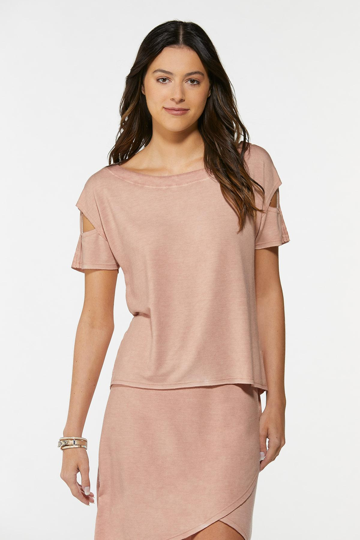 Plus Size Slit Sleeve French Terry Top