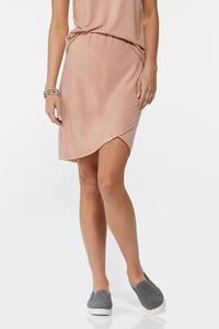 Plus Size Stretchy Faux Wrap Skirt