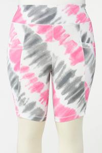 Plus Size Pink Tie Dye Biker Shorts