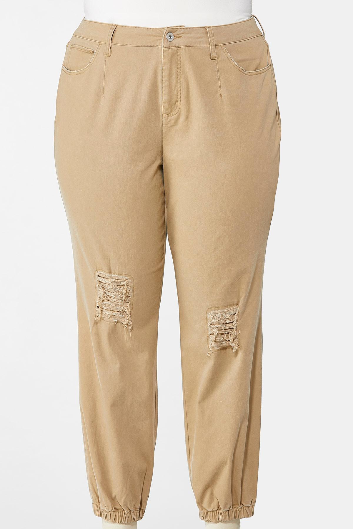 Plus Size Khaki Twill Joggers