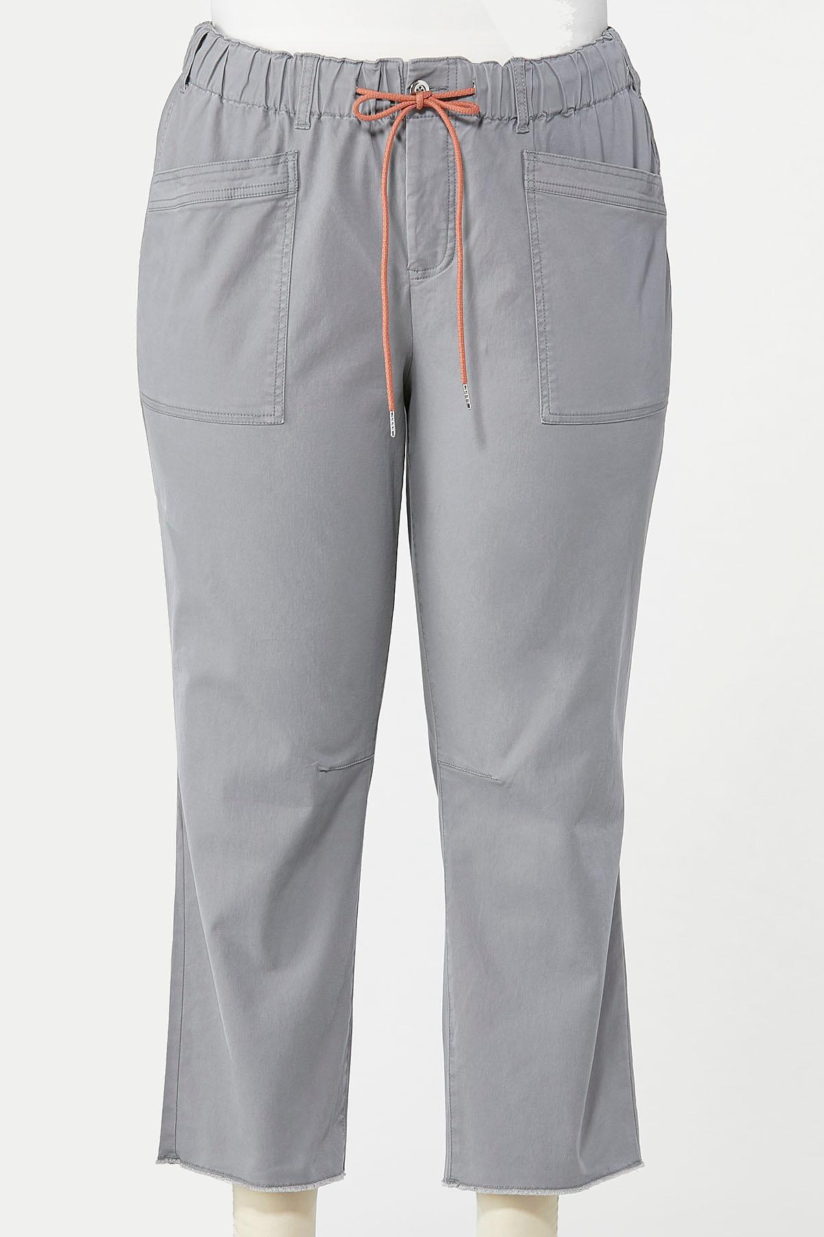 Plus Size Tie Waist Twill Pants