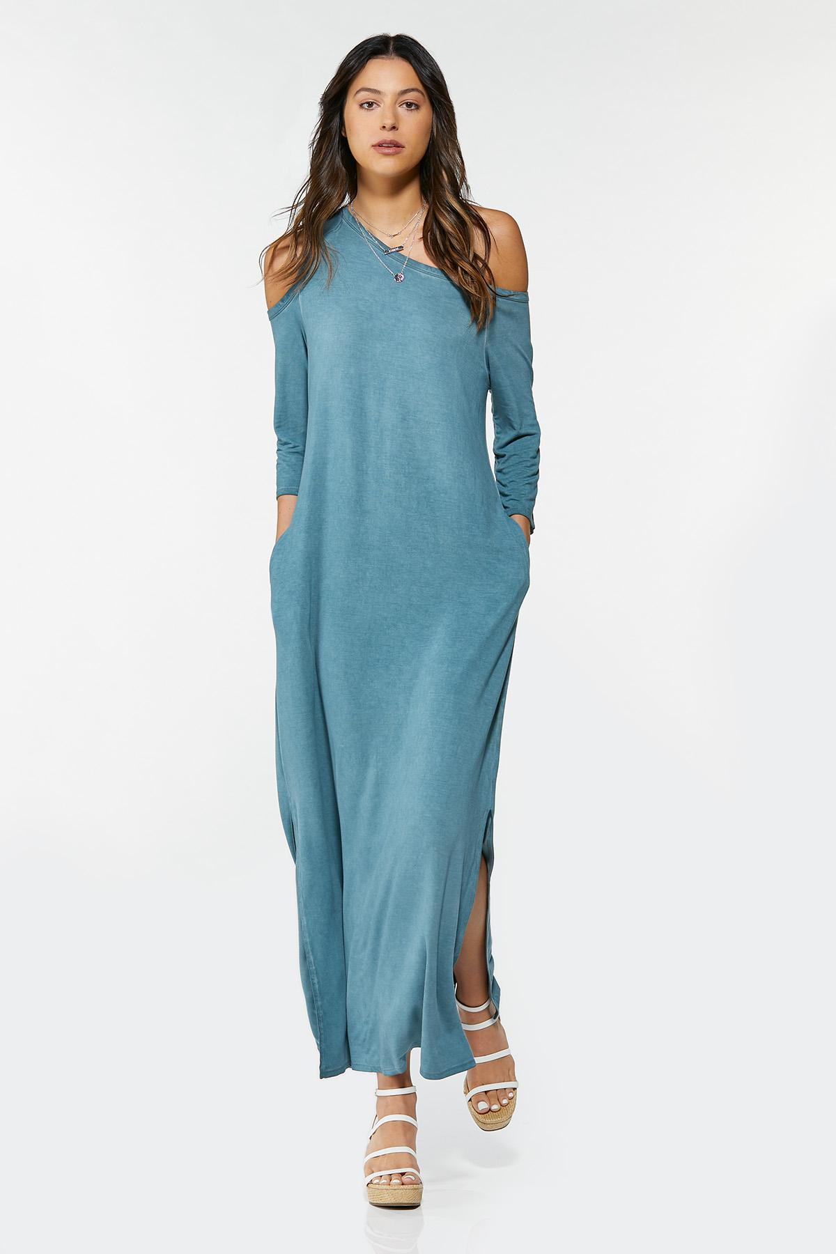 Plus Size Asymmetrical Cold Shoulder Dress