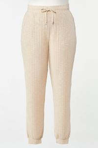 Plus Size Oatmeal Ribbed Joggers
