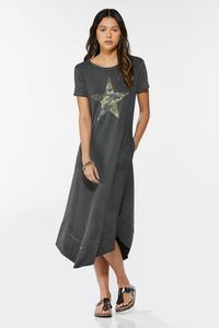 Plus Size Camo Star Shirt Dress