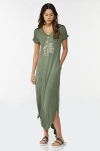Plus Size Rise Above Maxi Shirt Dress