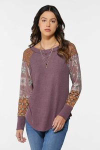 Plus Size Textured Patchwork Sleeve Top
