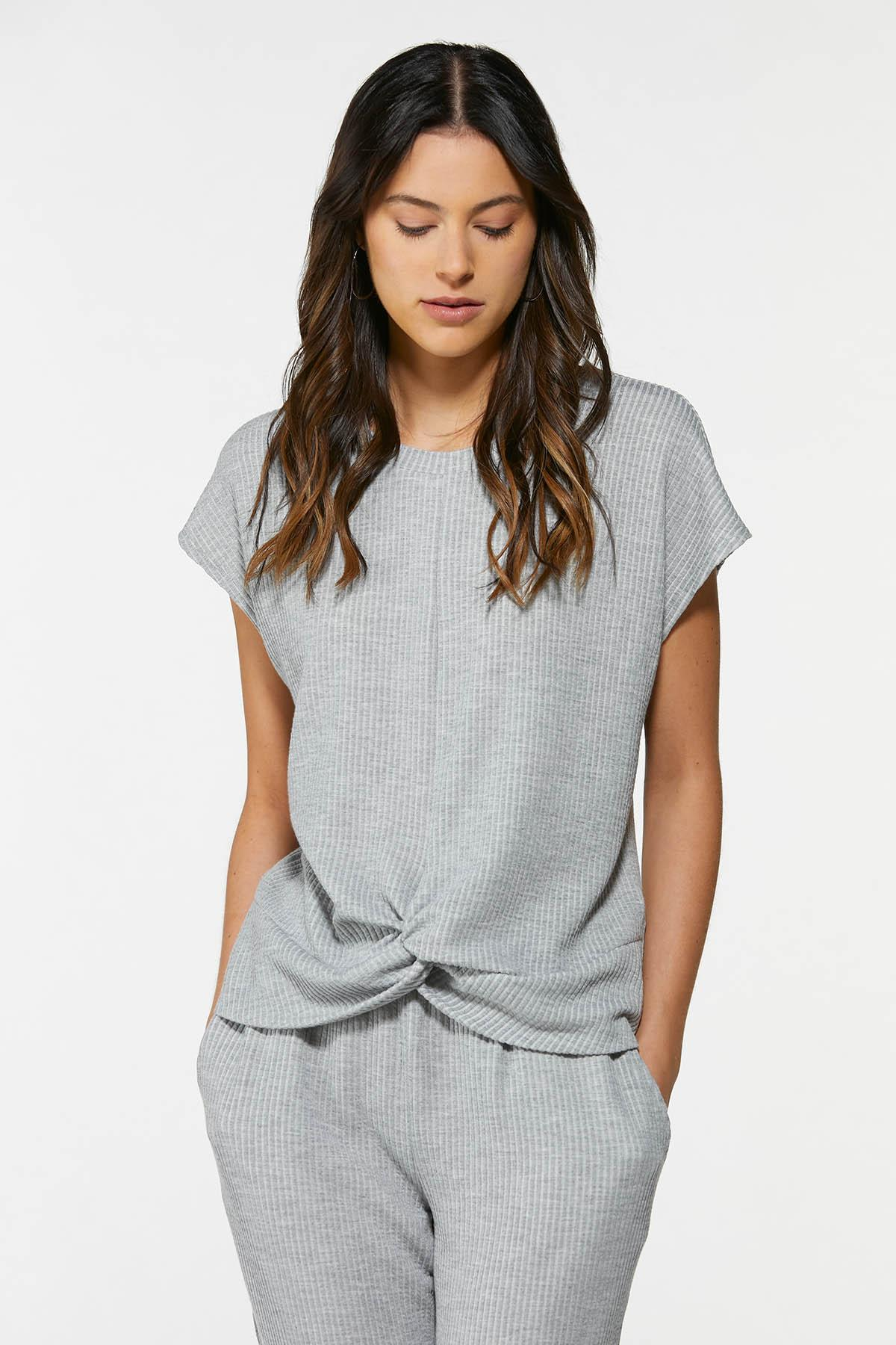 Gray Twisted Ribbed Top