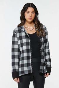 Plus Size Hooded Plaid Shirt