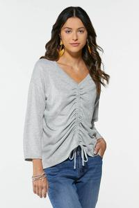 Plus Size Tie Ruched Front Top