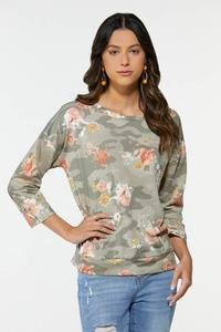 Olive Floral Sweatshirt
