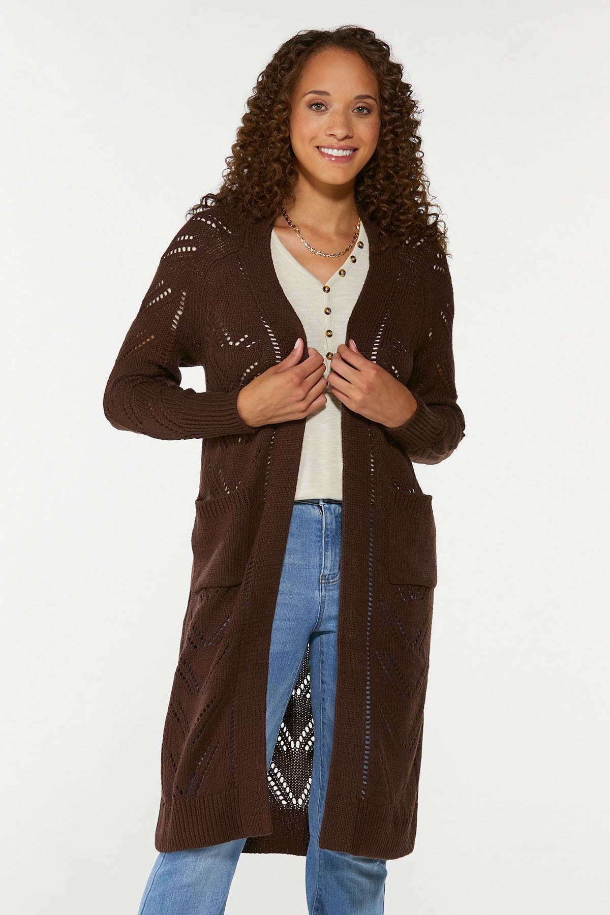 Plus Size Pointelle Sweater Duster