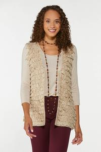 Plus Size Loop Fringe Sweater Vest