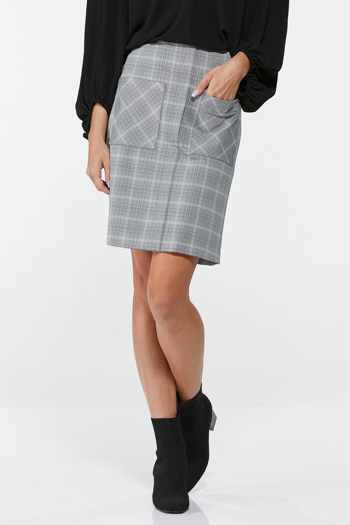 Plus Size Gray Plaid Mini Skirt