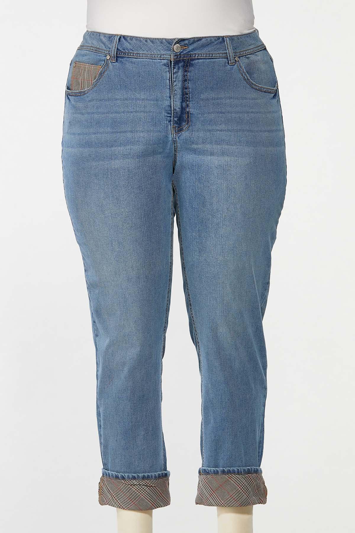 Plus Size Plaid Cuff Girlfriend Jeans