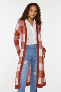 Amber Plaid Cardigan Sweater