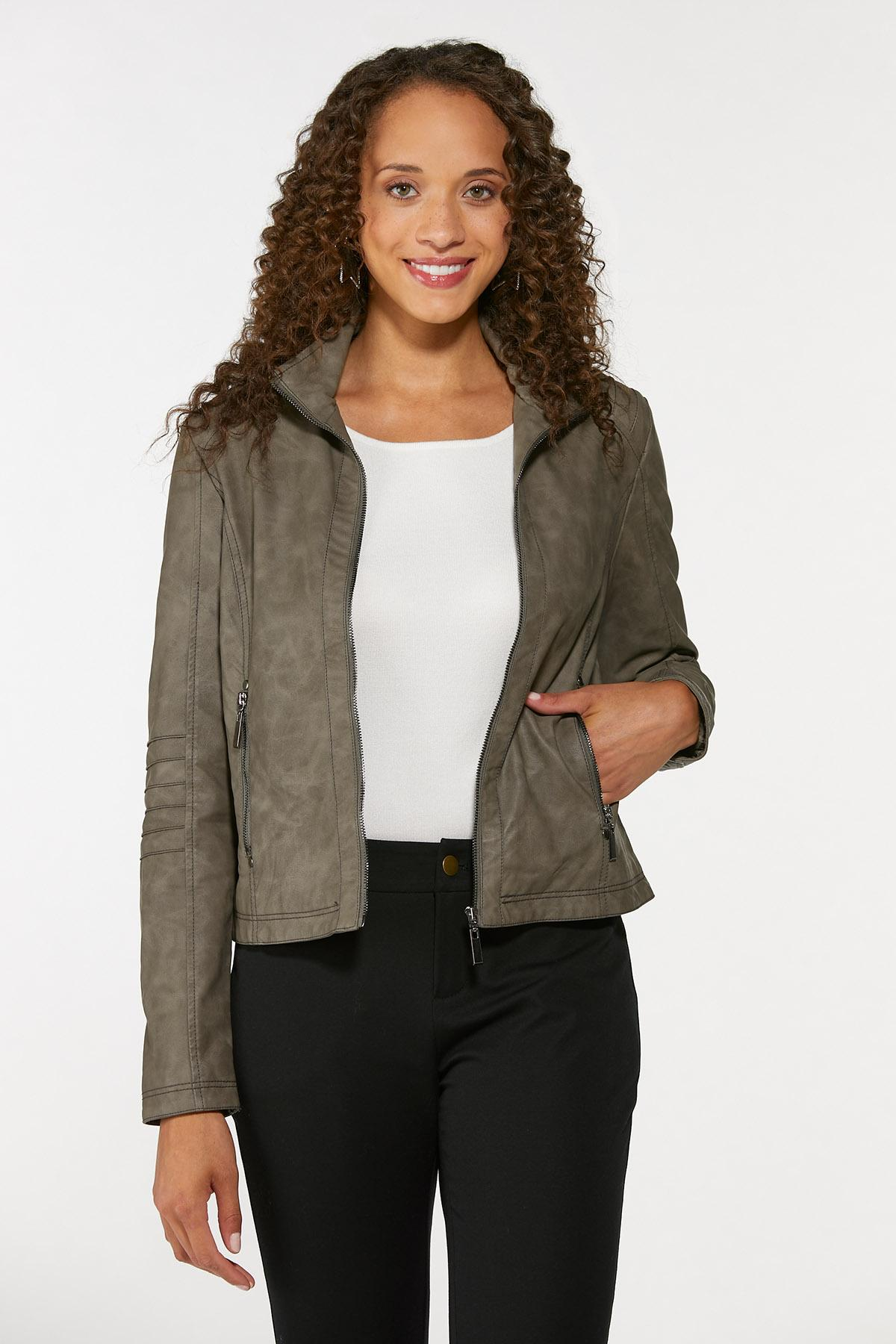 Faux Leather Pintucked Jacket