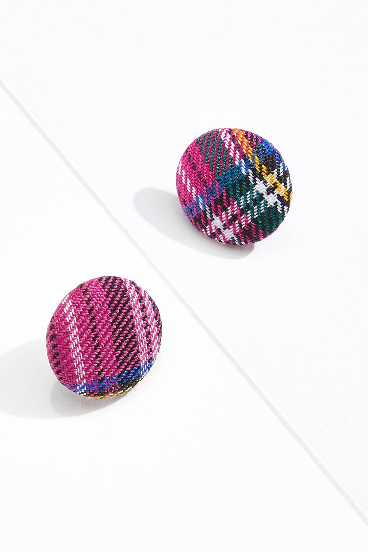 Plaid Button Earrings