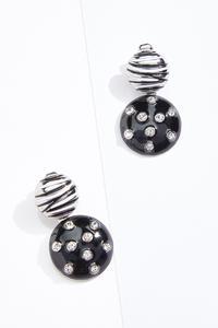 Black Zebra Enamel Clip-On Earrings