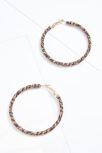 Fabric Leopard Hoop Earrings