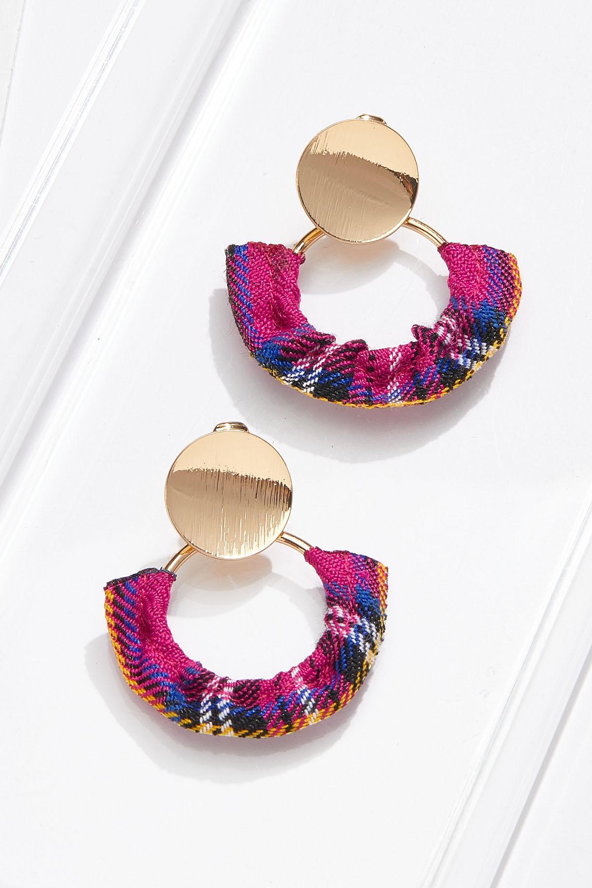 Purple Plaid Clip-On Earrings