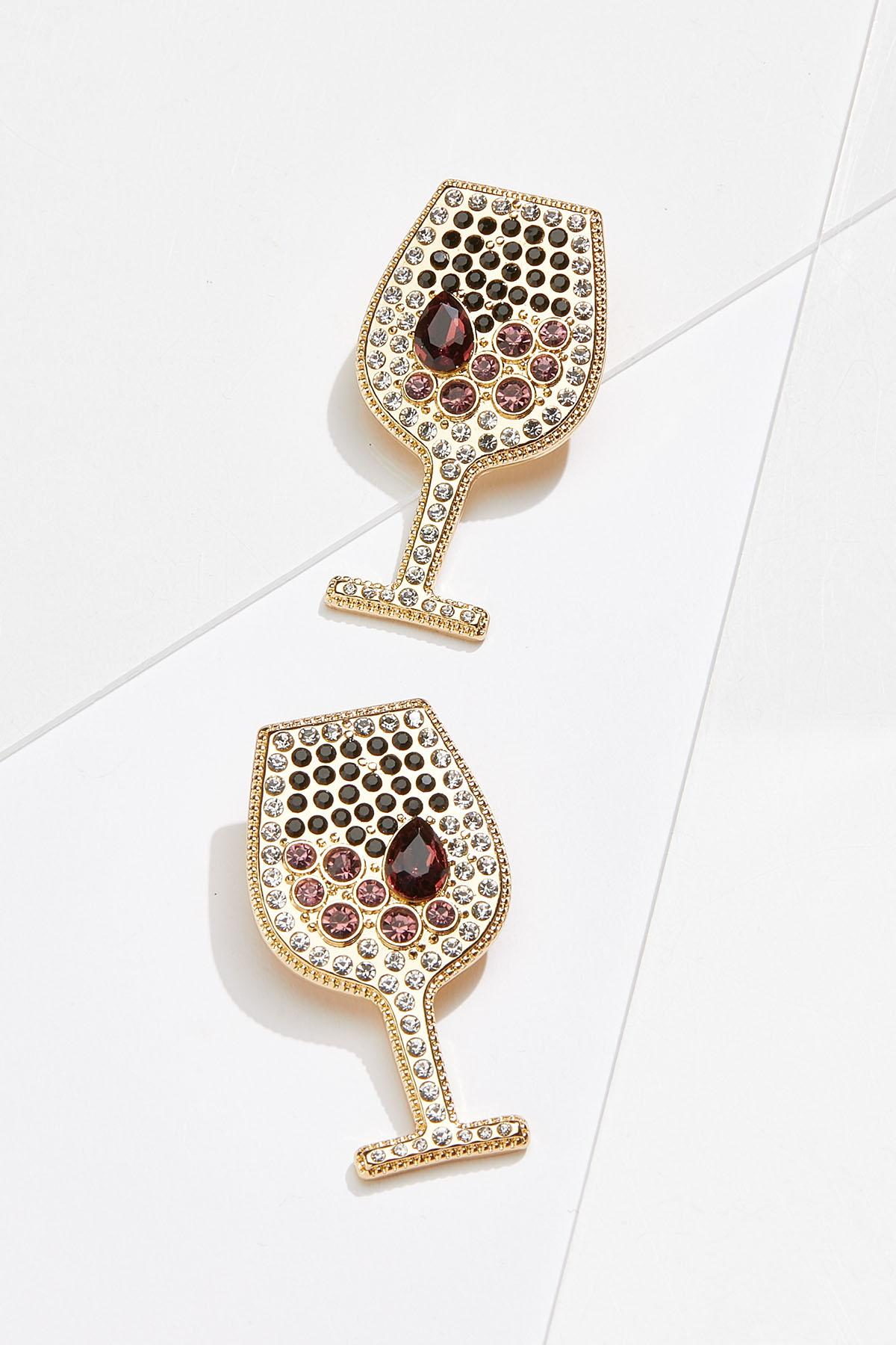 Red Wine Glass Clip-On Earrings