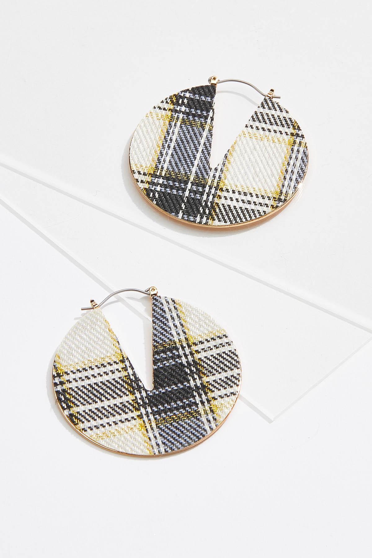 Plaid Circle Earrings