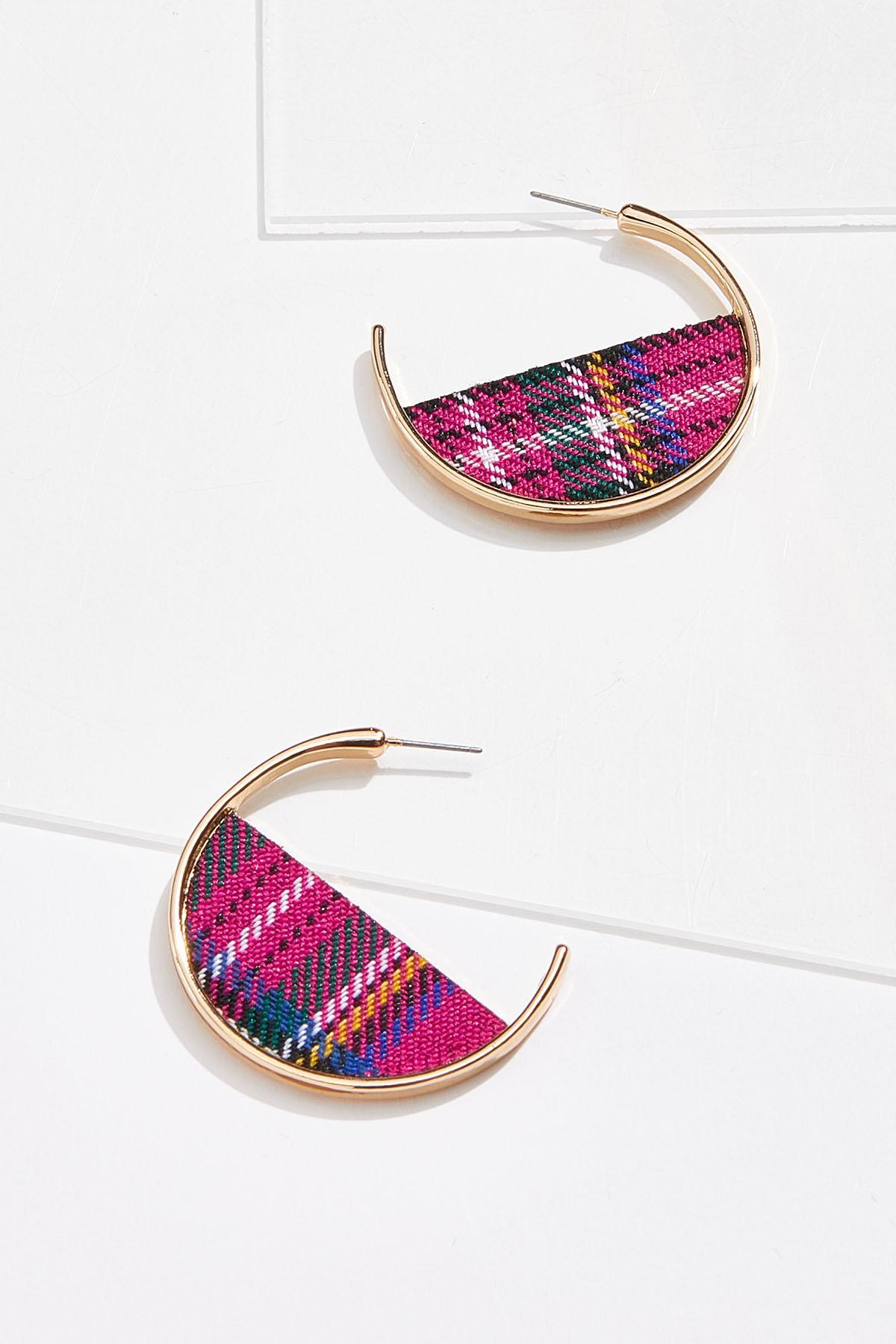Pink Plaid Hoop Earrings