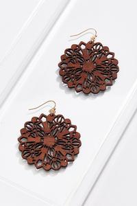 Cutout Wood Flower Earrings