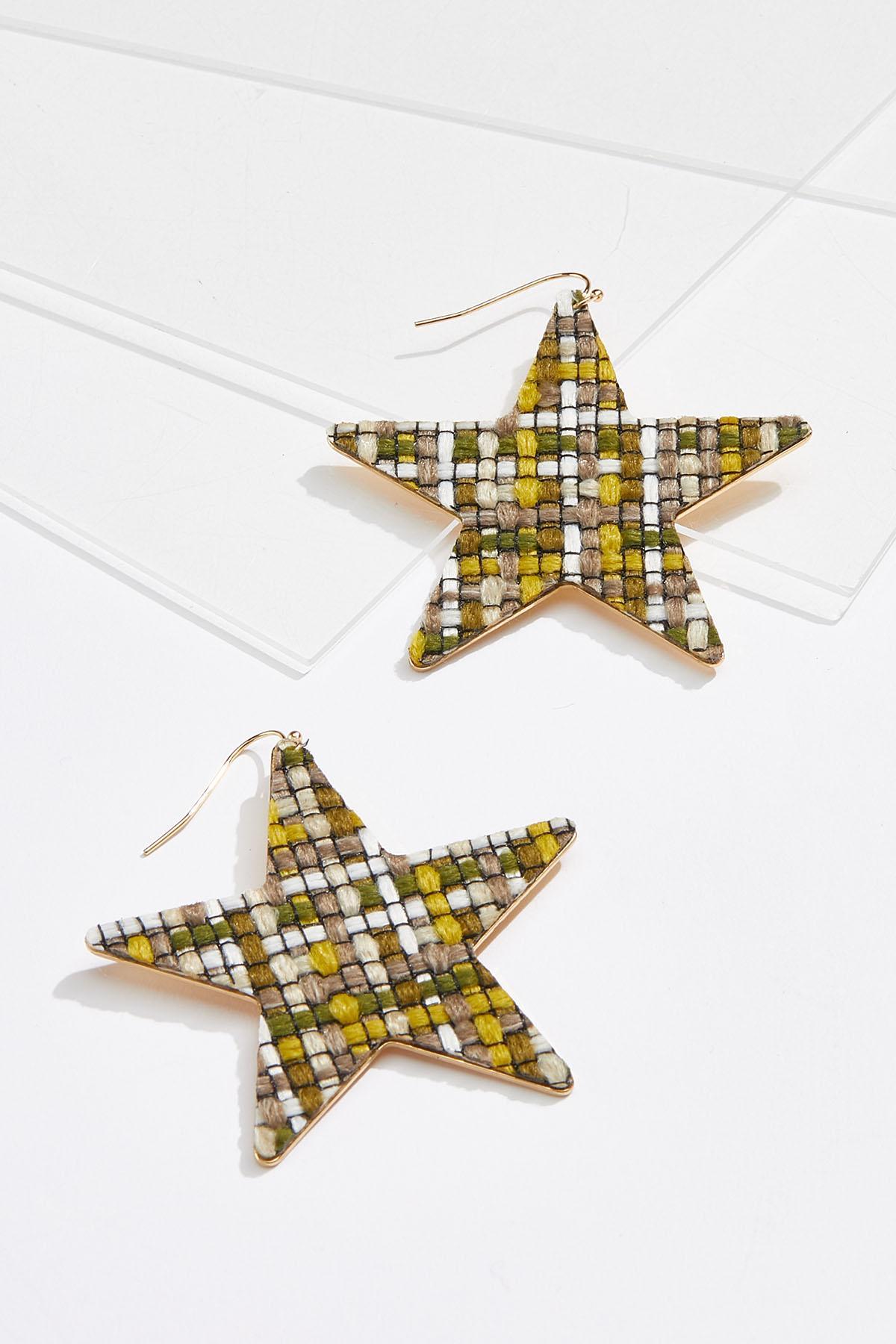 Tweed Star Earrings