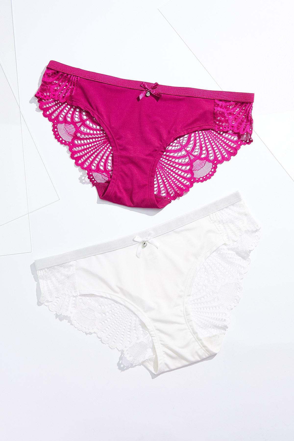 Plus Size Lace Trim Hipster Panty Set