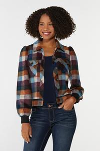 Plus Size Plaid Puff Sleeve Jacket