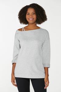 Gray Strappy Shoulder Sweatshirt