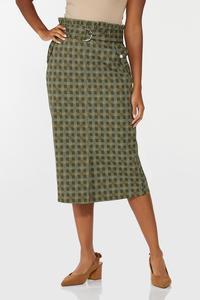 Plus Size Ruffled Plaid Pencil Skirt