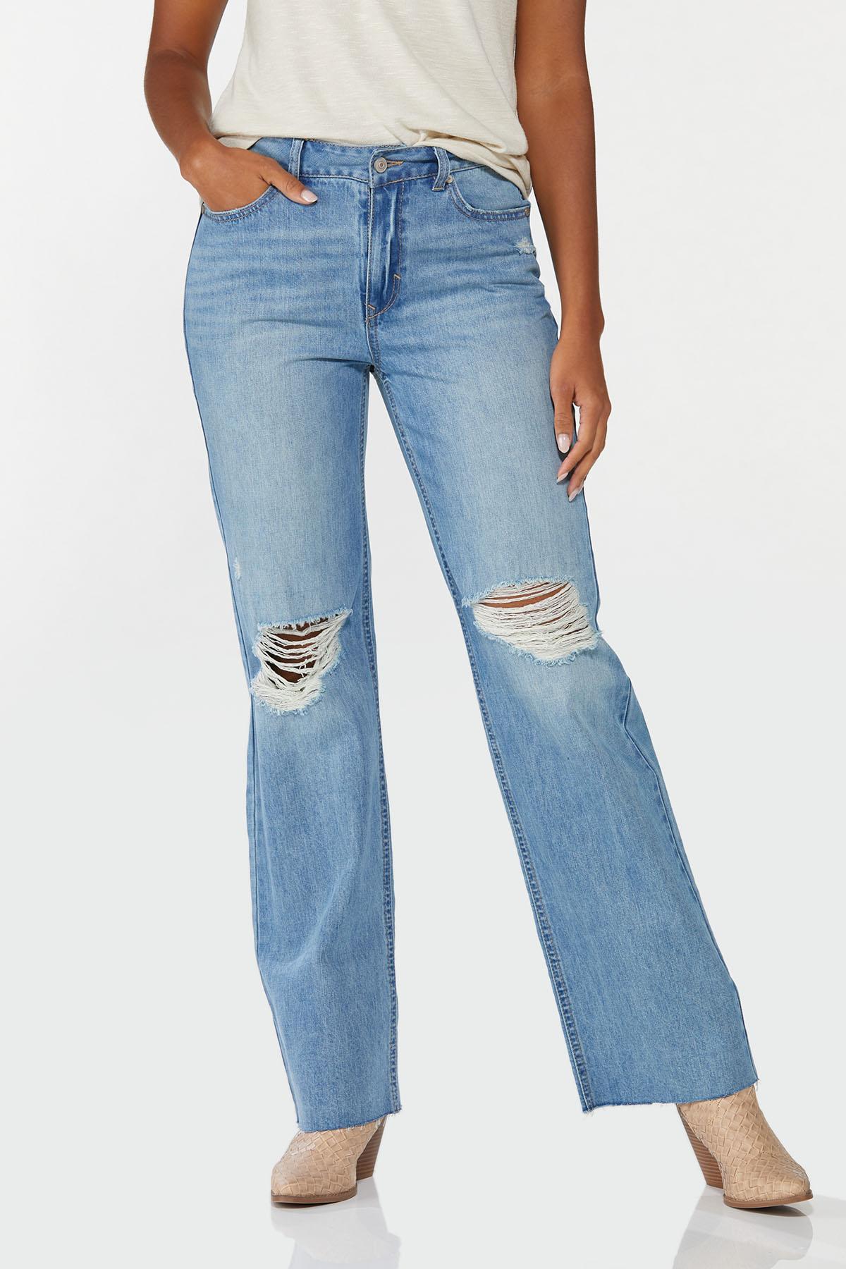 Petite Distressed Wide Leg Jeans