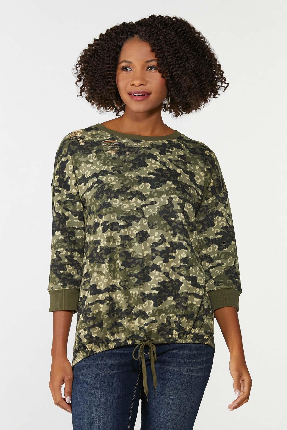 Distressed Camo Animal Sweatshirt