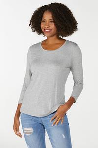 Plus Size Gray Scoop Neck Top