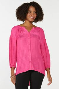Plus Size Pink Textured Tunic