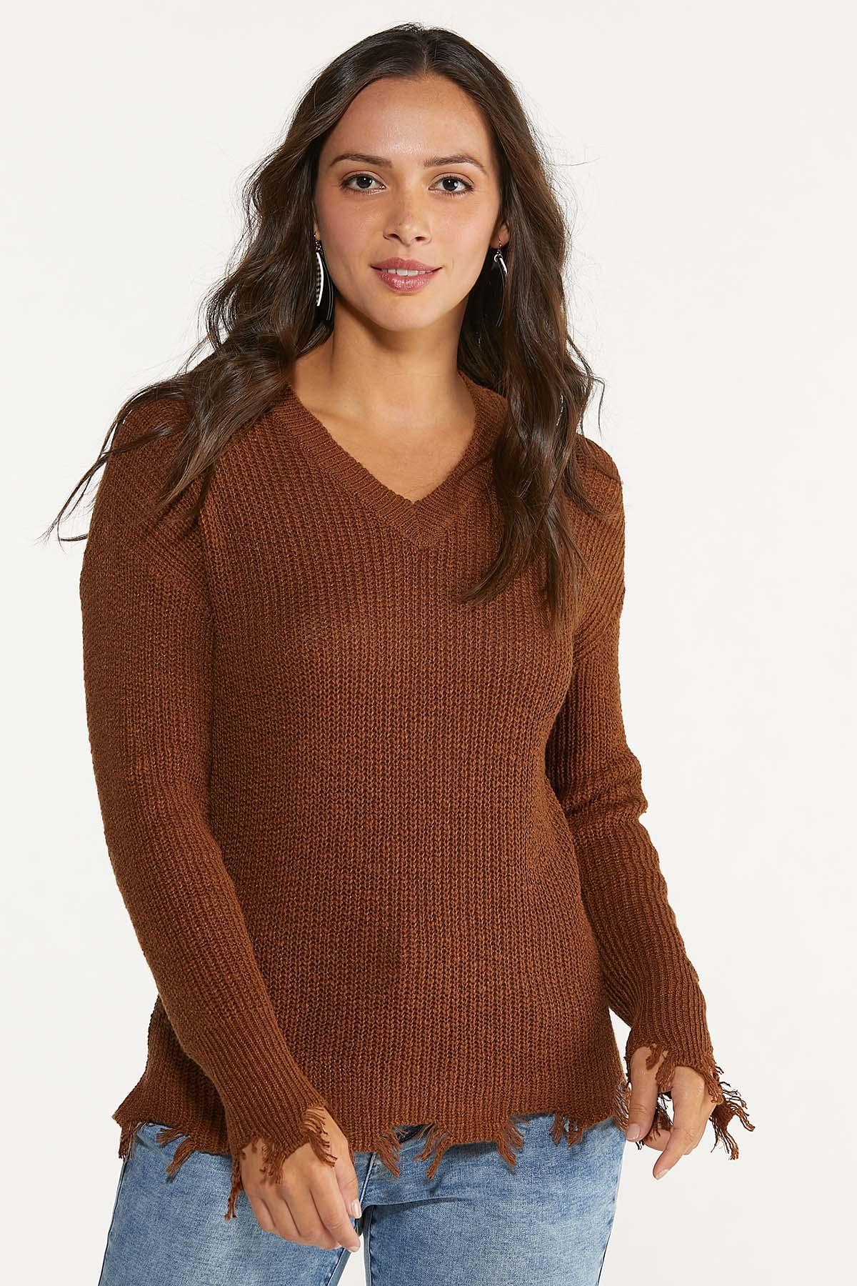 Plus Size Distressed V-Neck Sweater