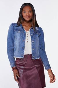 Plus Size Puff Sleeve Denim Jacket