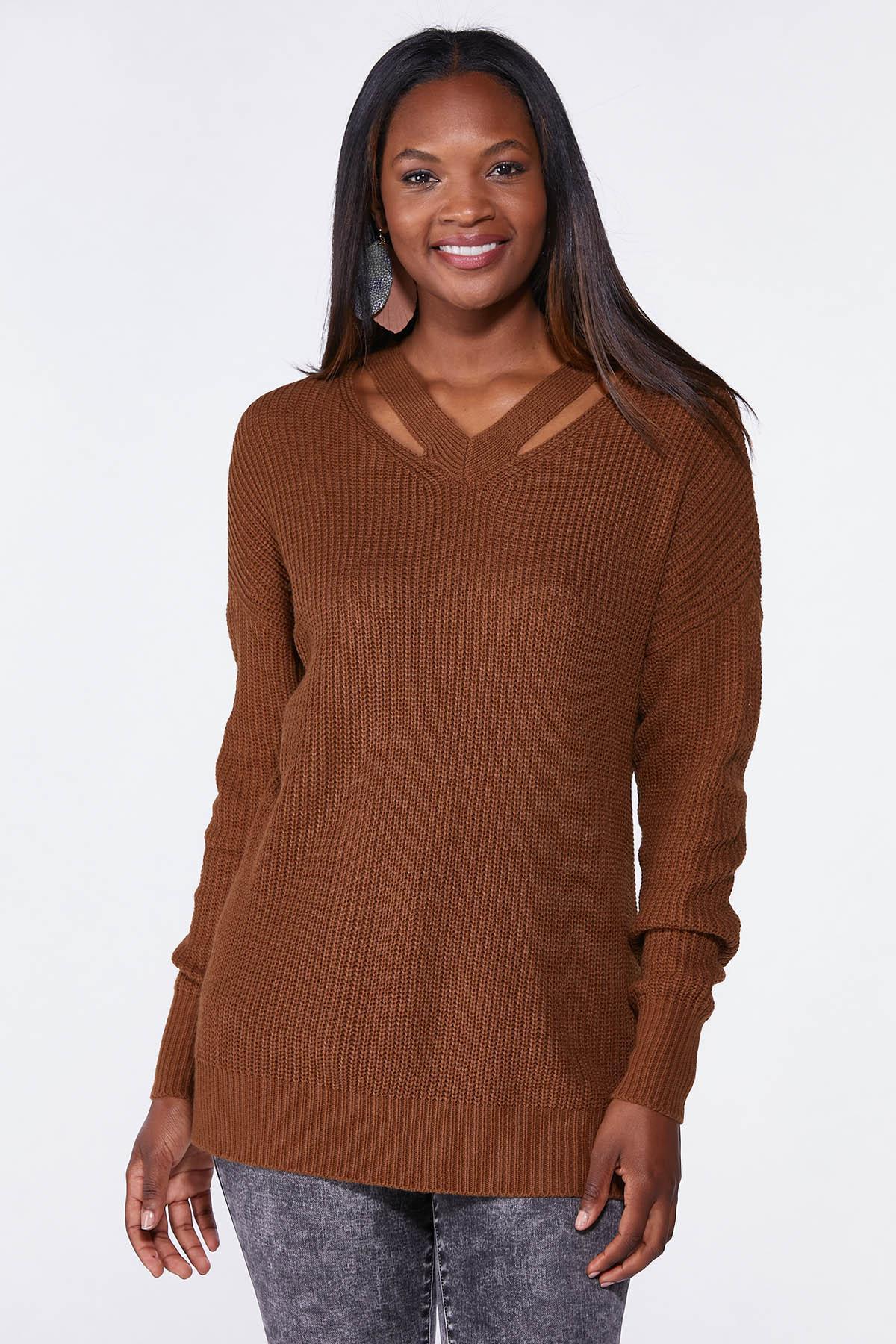 Plus Size Cutout Tunic Sweater