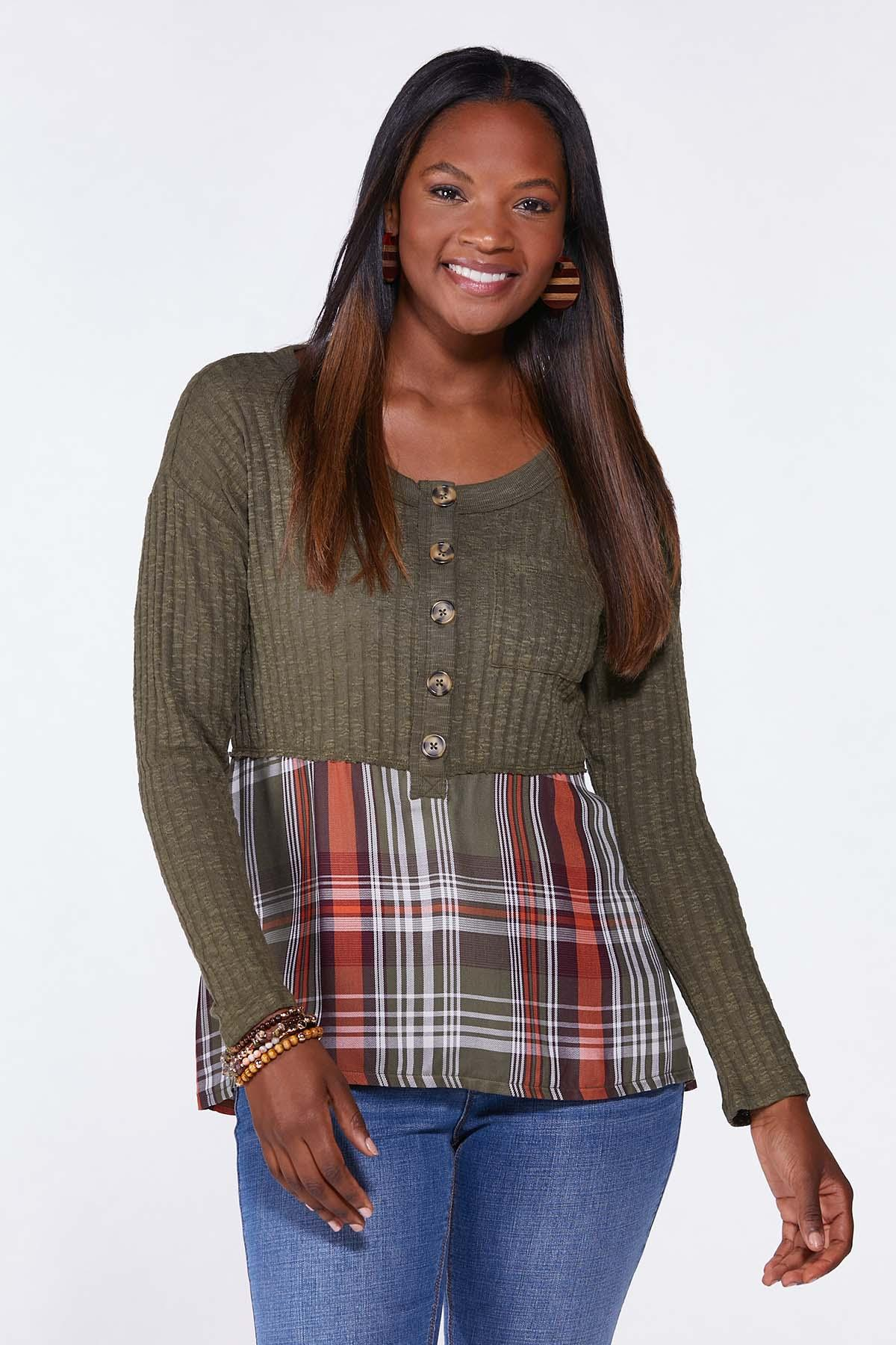 Plaid Ribbed Henley Top