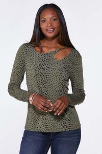 Cutout Spotted Olive Top