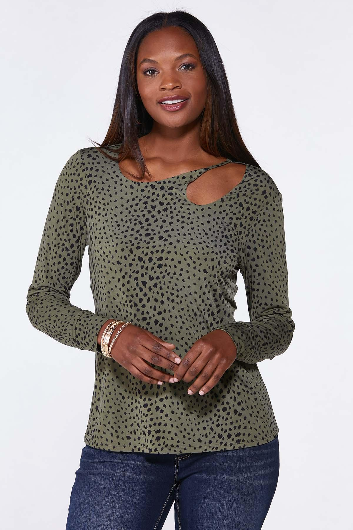 Plus Size Cutout Spotted Olive Top