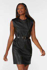 Padded Shoulder Leather Dress
