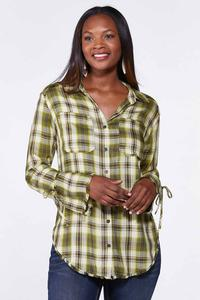 Plaid Bell Sleeve Tunic