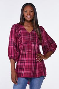 Plus Size Raspberry Plaid Tunic
