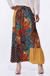 Autumn Patchwork Maxi Skirt
