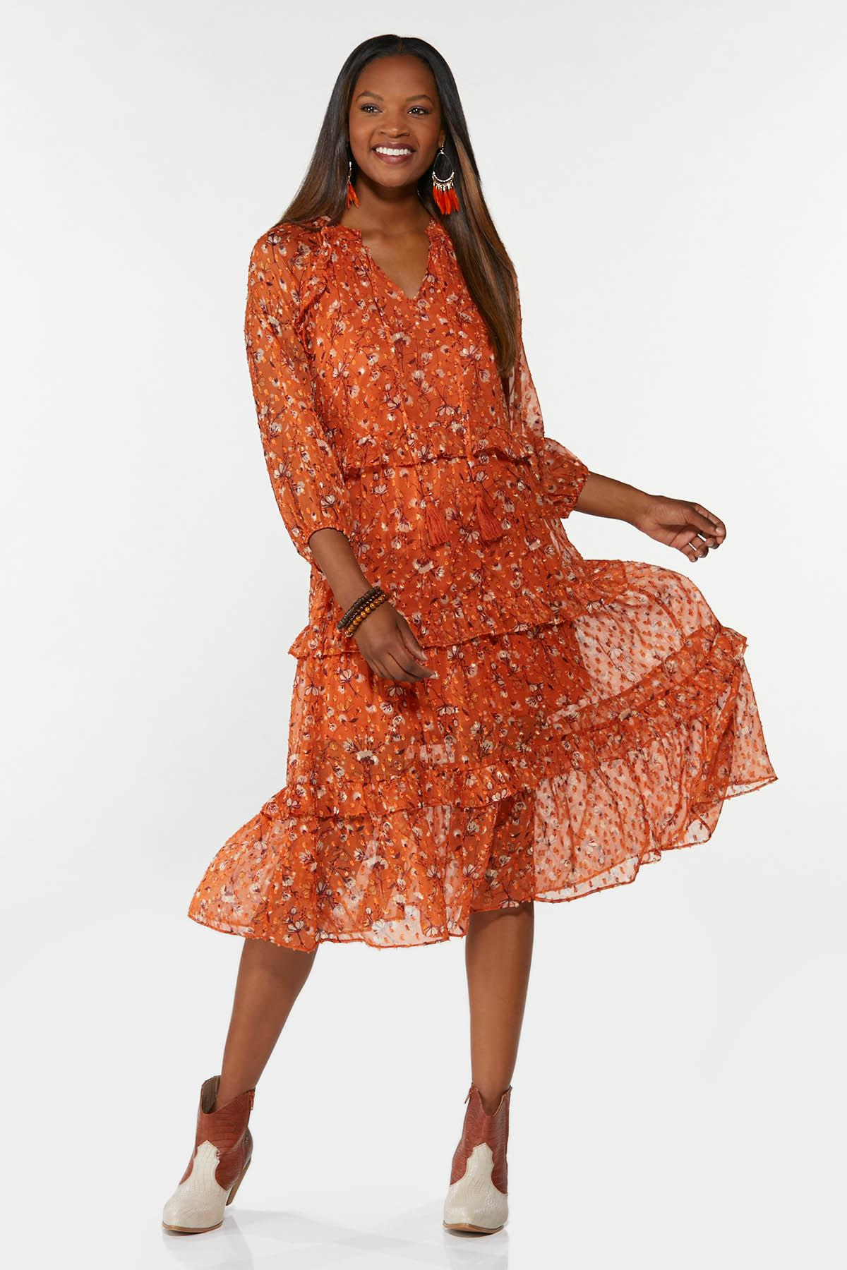 Tiered Orange Floral Dress
