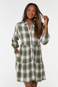 Plaid Babydoll Shirt Dress