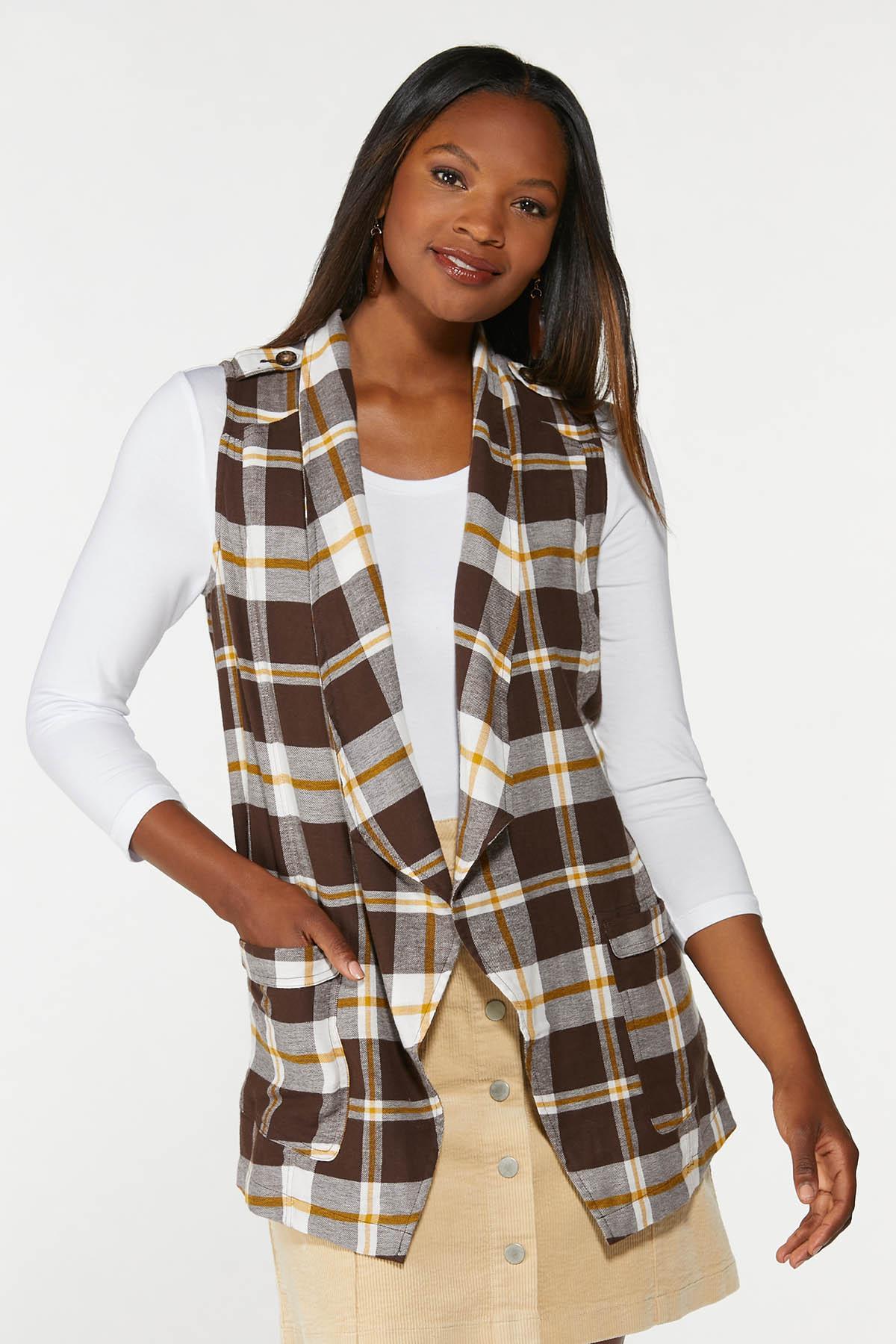 Plus Size Brown Plaid Vest